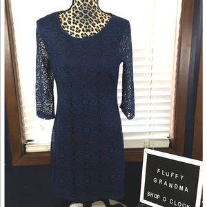 Ruby Rox Navy Lace Sheath Dress medium